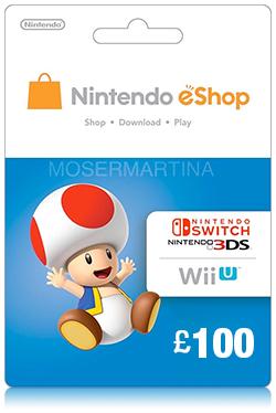 Nintendo Wii U/3DS eShop Prepaid Card 100 GBP- UK