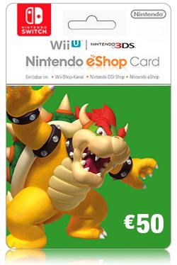 Nintendo Wii U/3DS eShop Prepaid Card 50 EURO- EU